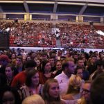A picture of the crowd in Coleman Coliseum for the Welcome Back Concert