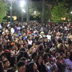A huge crowd of students, enough to fill the Ferguson Student Center plaza, are gathered to watch the ONYX performance